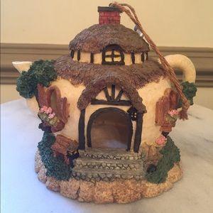 Irish Cottage House Teapot Hanging Bird Feeder